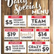 Weekly Daily Specials - Monday to Friday