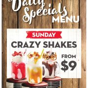 Sunday Daily Special - crazy shakes for $9